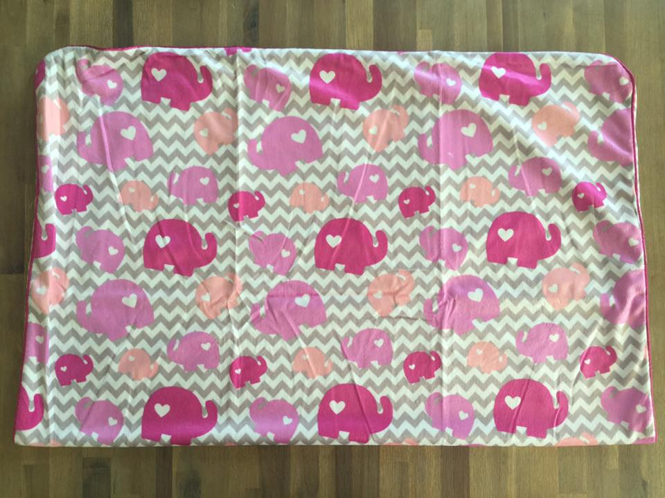 "Couverture Microfibre polaire ""Pearls Of Baby"" - Elephant 3D Rose 75x100"