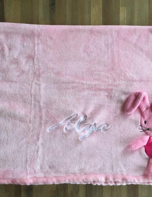 "Couverture Microfibre polaire ""Pearls Of Baby"" - Souris 3D Rose 75x100"