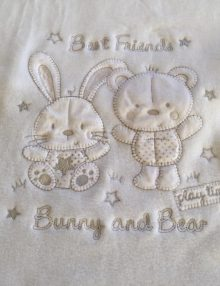 "Couverture Microfibre polaire ""Pearls Of Baby"" - Best friend creme 75x100"