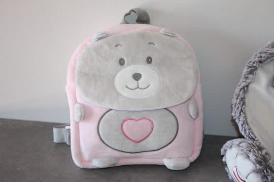 Sac a dos ourson baby rose personnalise
